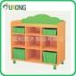 实木彩色幼儿园储物柜书架三层组合柜 家用儿童收纳柜玩具柜带门