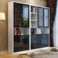 上海办公室书架自由组合带门烤漆玻璃门书橱储物柜黑色的门和书柜