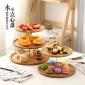 木质创意水果圆盘 多层西点餐厅竹制竹盘竹碗 糖果点心盘子批发