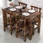仿古中式碳化实木餐桌椅 饭店农家乐茶桌面馆酒吧咖啡店快餐桌椅